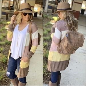 Color Block Sweater Cardigan with Pockets